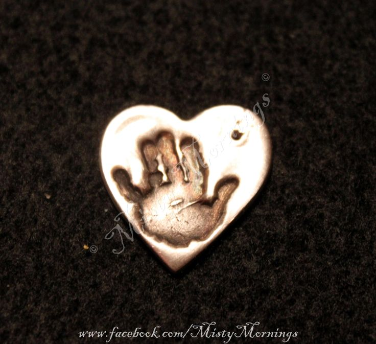 Solid silver heart hand print pendant inkless wipe kits available, safe for baby or toddler, these can even be made with hand prints from older children or for adults see our fingerprint range. excellent presents for mums, aunts grand parents www.facebook.com/MistyMornings