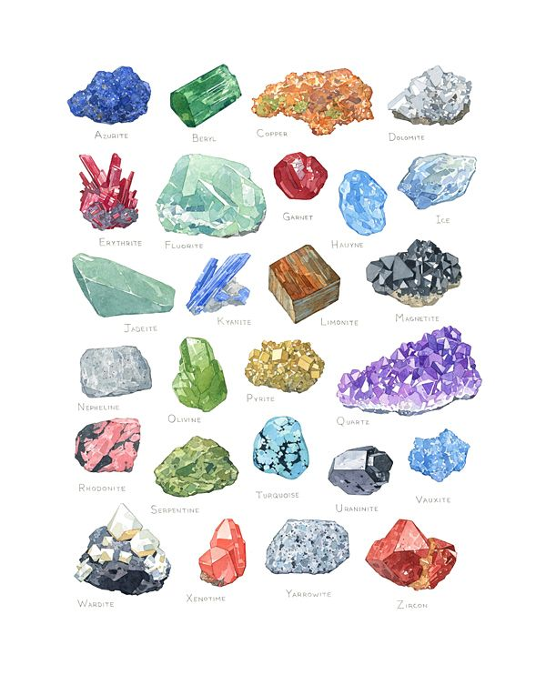 Mineral Alphabet Watercolor Print   david scheirer watercolors