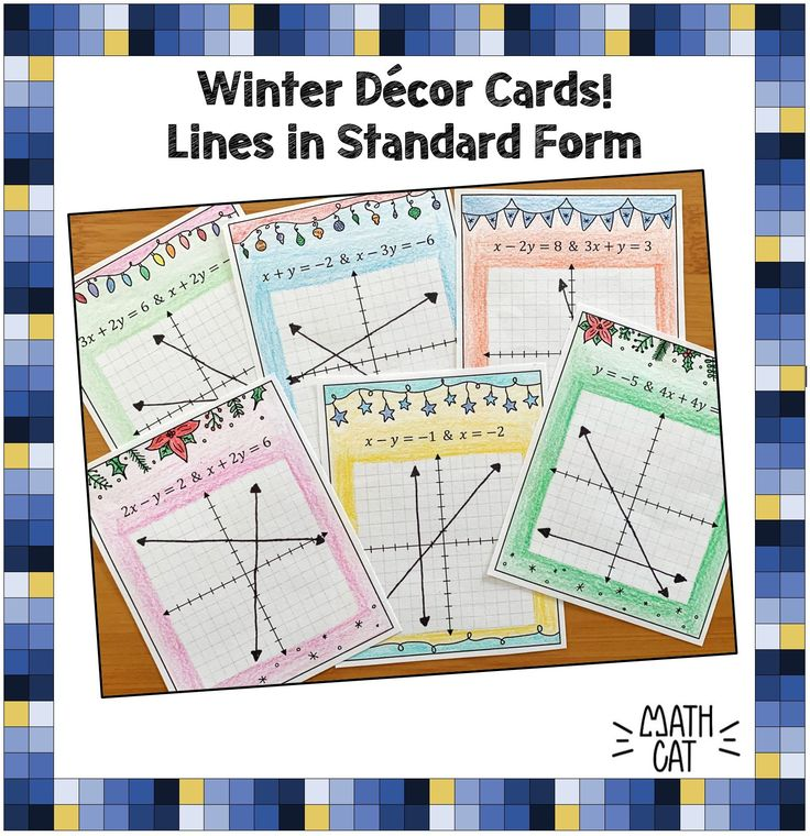 Winter Decor Cards Graphing Systems of Linear Equations