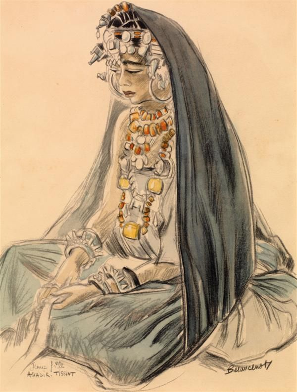 """JEUNE FILLE D'AGADIR TISSINT ""  Lithograph | By Jean Besancenot, ca. 1934 - 1939"