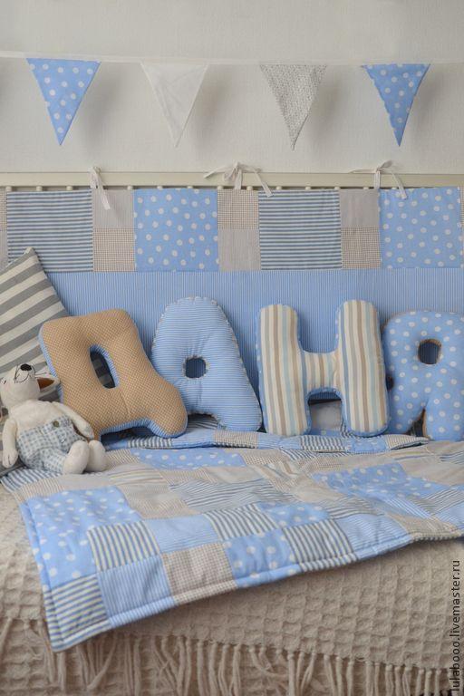 Купить Гирлянда из флажков для комнаты мальчика - голубой, флажки, гирлянда из флажков, декор для детской