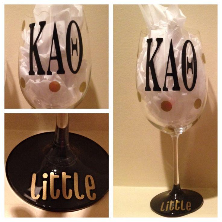 Kappa Alpha Theta, Personalized Wine Glass, Sorority Wine Glass, Custom Wine Glass, Big WIne Glass, Little Wine Glass by GlassyGurlz on Etsy