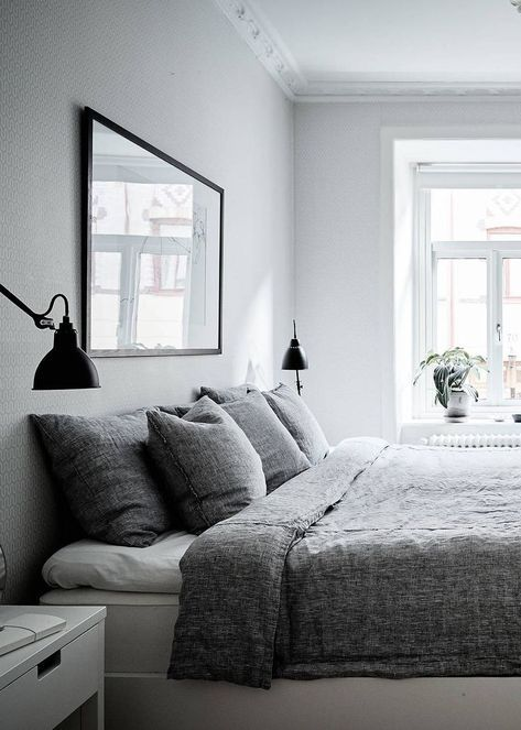Neutral home with black accents | Romantic bedroom decor ... on Neutral Minimalist Bedroom Ideas  id=97210