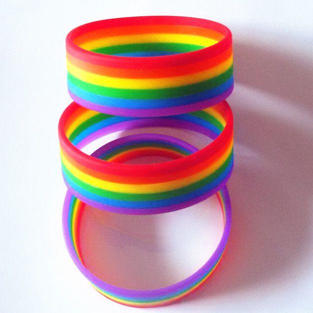 Bracelet Lesbienne/Gay- Gay #Pride Pour Hommes et Femmes- Arc-en-ciel #Multicolore-Bracelet 6 Couleurs en silicone.