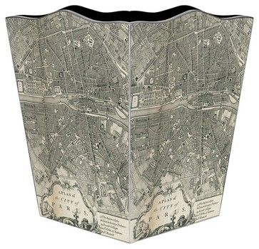 Paris Antique Map Wastebasket transitional-waste-baskets