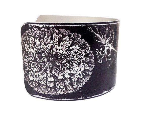 Find JDzigner at http://www.jdzigner.com !!! Aluminum Cuff Bracelet  Black & White Ernst Haeckel by JDzigner  with <3 from JDzigner www.jdzigner.com