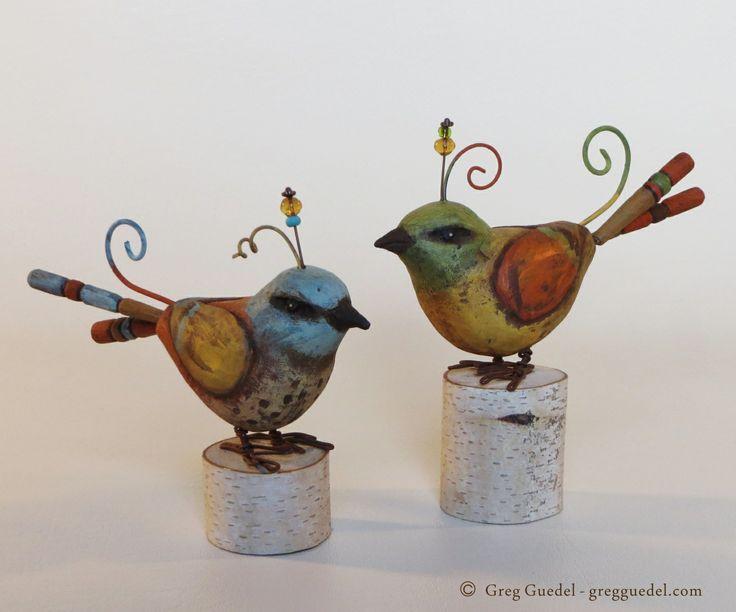 Folk art bird wood carvings by Greg Guedel. www.gregguedel.com