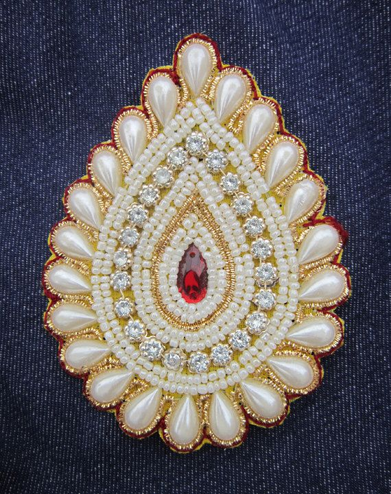 "2 Handmade Betel shape applique | white stones and beaded applique, patch | Size - width 3"",  height 4""  