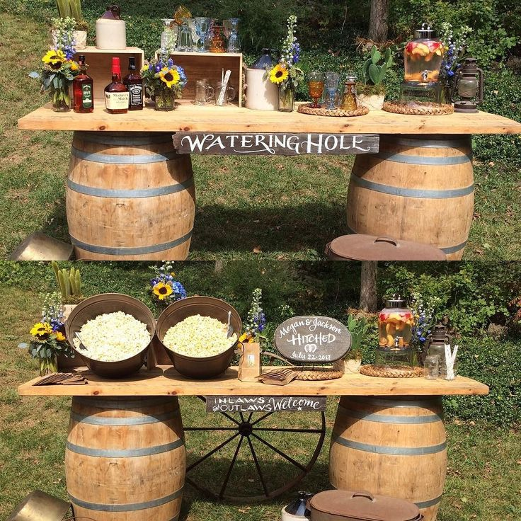 Another behind the scenes look at our Connecticut Bride photo shoot. I love repurposing items during the wedding to get as much bang for your buck!  These two images show taking a barrel bar and using it as a whiskey station during your cocktail hour and then during dinner flipping it to a late night snack popcorn station. Notice all the details that change to transform this look! #ccblct #ccbl #weddinginspo #weddinginspiration @chasecanopy @lrosefx @kennedykettlecorn @gather_and_lounge…