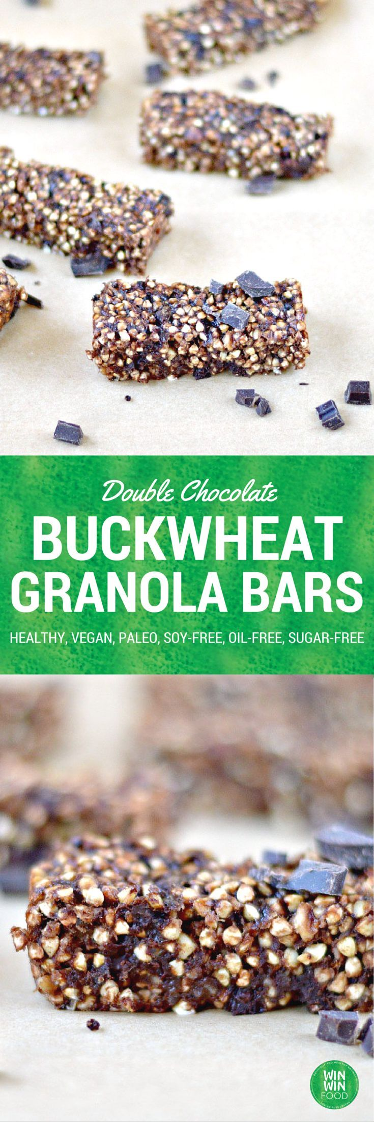 Double Chocolate Buckwheat Granola Bars | WIN-WINFOOD.com #healthy #vegan #paleo #glutenfree