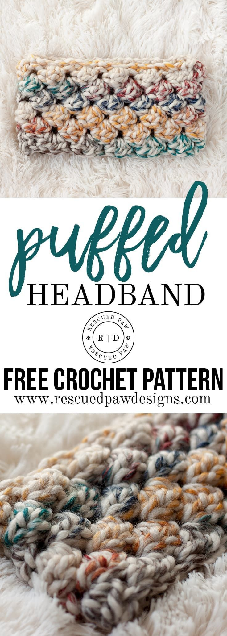 Puffed Headband Crochet Pattern - A FREE crochet pattern from Rescued Paw Designs