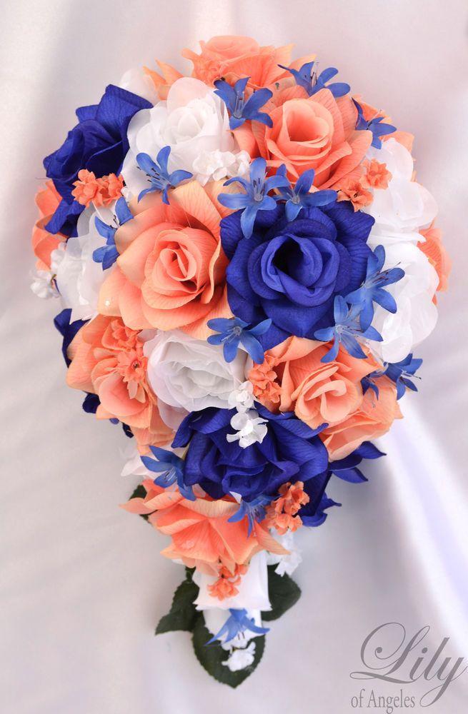 17Piece Package Silk Flower Wedding Bridal Bouquet CASCADE CORAL BLUE NAVY ROYAL #LilyofAngeles