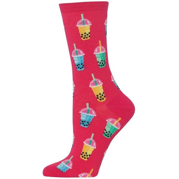 Hot Sox Women's Bubble Tea Printed Mid-Calf Sock ($6) ❤ liked on Polyvore featuring intimates, hosiery, socks, hot pink, calf length socks, hot pink socks, tea sock, bubble socks and graphic socks
