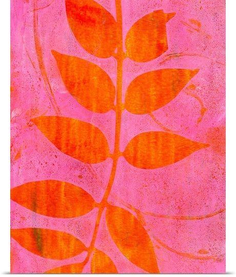 Inklings - Pink Orange Leaves - greatbigcanvas.com