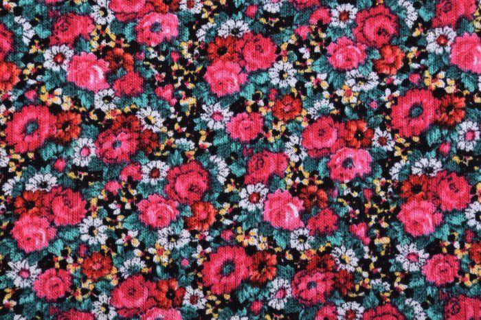 Bavlněný úplet s potiskem barevných květin 88567/33