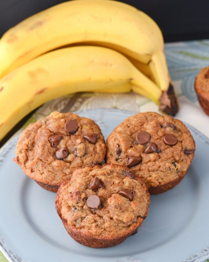 Chocolate Chip Coconut Flour Banana Bread Muffins #chocolate #coconut #banana
