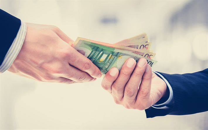 Download wallpapers business, money transfer, euro, bundle of money, payment, businessmen