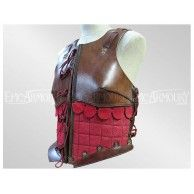 Female Leather Armor Brown/Red. Item can be found at http://www.larpcanada.com