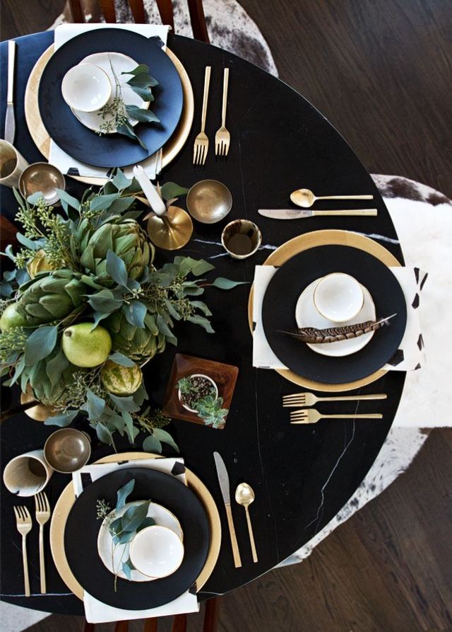 Black, white, and gold table.