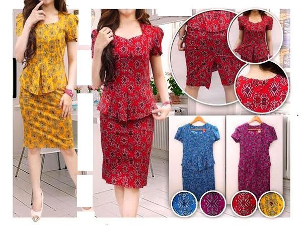 Reswara Batik Back Slit Mini Dress, Warna Yellow, Red, Blue, dan Purple, size M, Lingkar dada 80-90 cm, Panjang 93 cm, Bahan Katun Stretch, Resleting belakang 118k