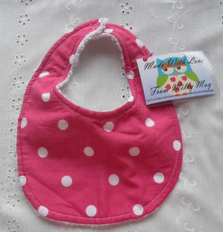 Beautiful Handmade Traditional Style Bibs.Made with lovely cotton front and soft toweling back and topstitched for extra strength.Choose from Polka dot or one of two floral designs