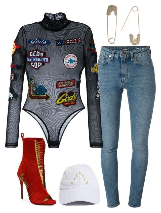 """""""Untitled #6121"""" by stylistbyair ❤ liked on Polyvore featuring Christian Louboutin, Yves Saint Laurent and GCDS"""