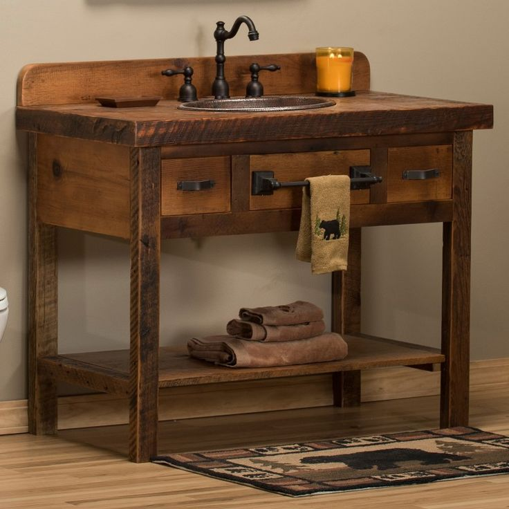 rustic bathroom vanity; i like thetop shelf idea, maybe use copper sheeting  for… | rustic interiors | Pinterest | Primitive bathrooms, Bathroom vanities  and ...