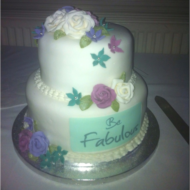 Fantastic Birthday Cake for Karen's 40th, from Sarah at Gosh Patisserie.