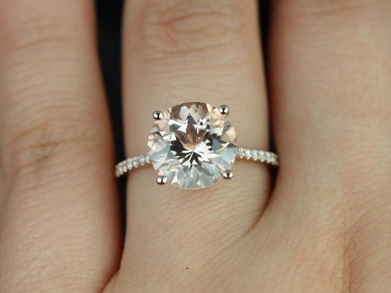 Eloise 14kt Rose Gold Round Morganite and Diamond Cathedral Engagement Ring (Other metals and stone options available) on Etsy, $975.00