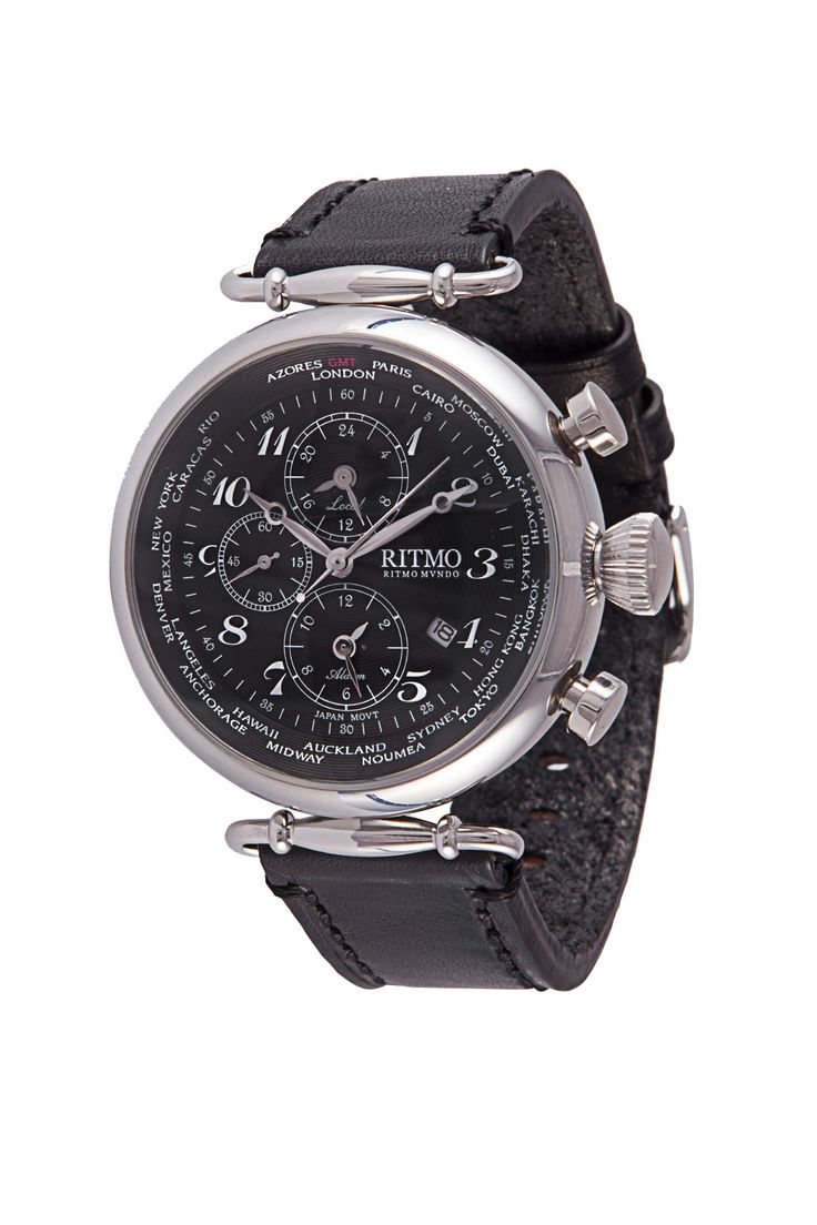 World Time 46mm Stainless Steel  Multi-Function Chronograph