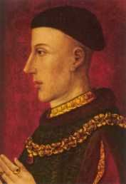 King Henry V (1413-1422). House of Lancaster. 1st cousin 17 times removed to QE II. Reigned for 9 yrs, 5 mos, 11 days. Henry was knighted aged 12 by Richard II on his Irish expedition 1399 and experienced war early. He was wounded in the face by an arrow fighting against his military tutor Harry 'Hotspur' at Shrewsbury. Campaigns in Wales against Owen Glendywr taught him the realities of siege warfare. He was succeeded by his son Henry VI. A movie about him was released in 1989.