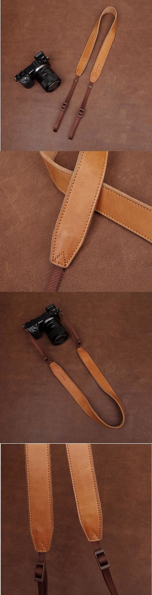 Light Brown Handmade DSLR Leather Camera Strap  - 2298 i-cam