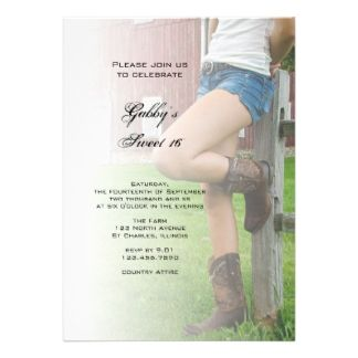country sweet 16 invitations | Day Invitations, 44,000+ B Day Announcements & Invites