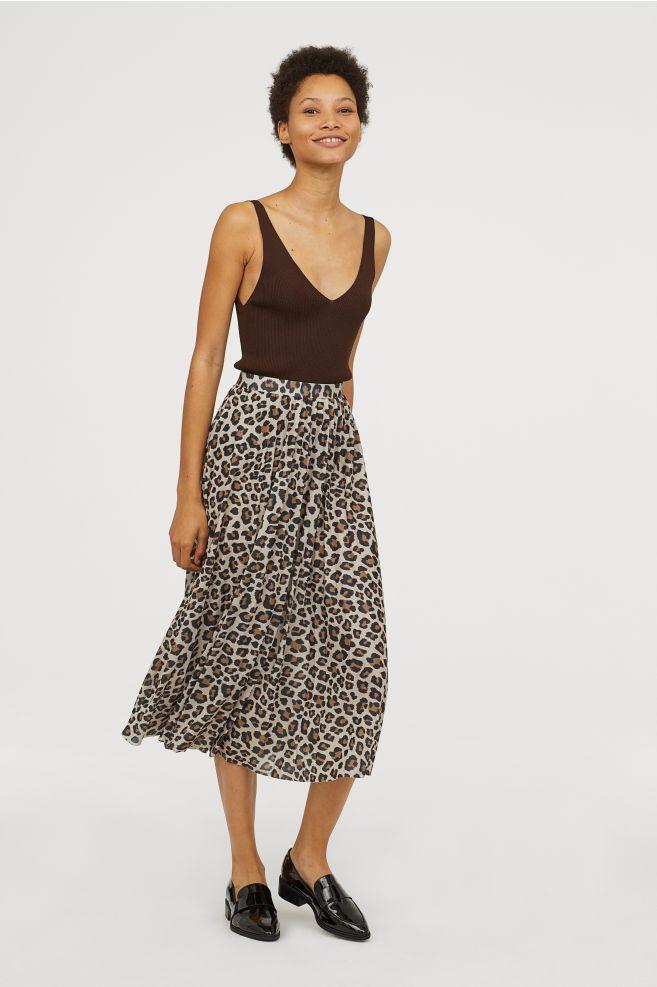 dbc26082b8 Pleated skirt - Beige Leopard print - Ladies