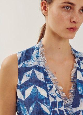 Vestido de lino estampado - Vestidos | Adolfo Dominguez shop online