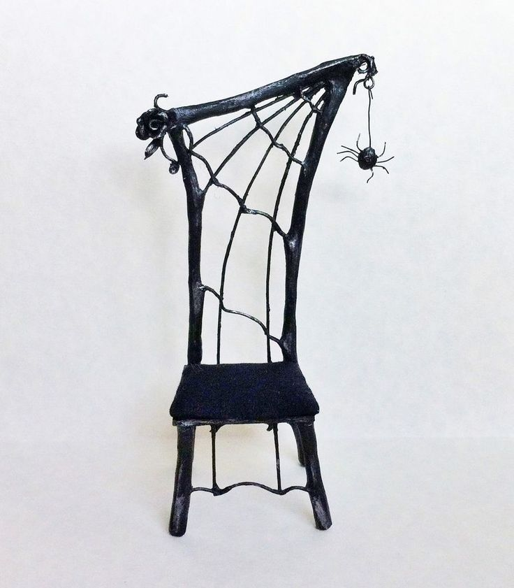 D/house Miniature Witch Spider Web Chair 1/12th Handmade Witch/Wizard - Resell