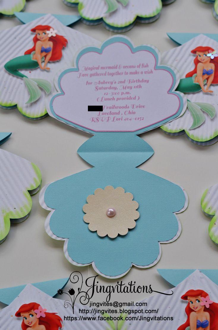 mermaid invitation | Little Mermaid Princess Ariel Seashell Birthday Invitations