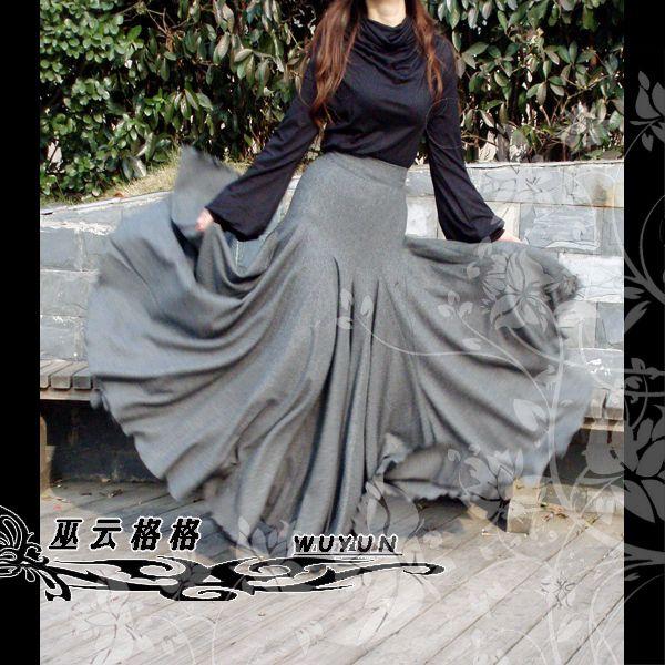 2013 haute taille de mode d'hiver en laine jupes longues. Gris musulman islam maxi. jupe en queue de poisson. Un design original, chaude jupe slim