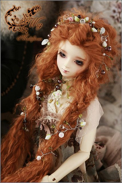 lovely red headed BJD with flowers in hair