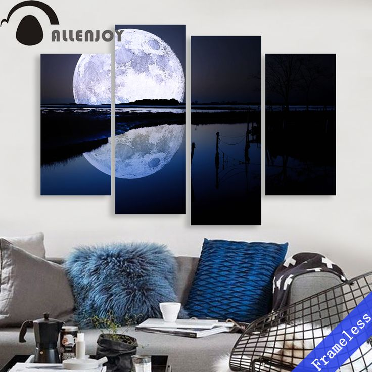 living room art prints%0A Full Moon water surface night Modern Wall Art Decor Home Decoration Picture  Paint on Canvas Prints