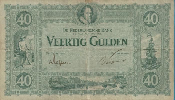 """Nederlands - Bankbiljet 40 Gulden 1921 """"Maurits"""""""