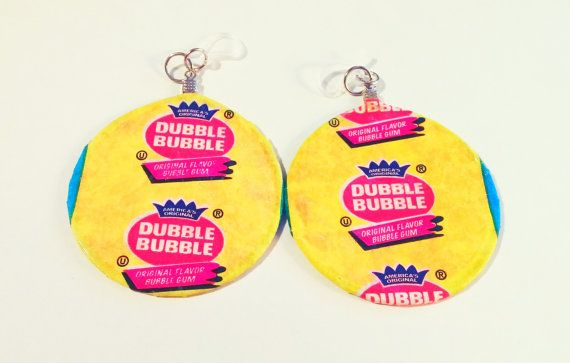 Vintage Gum Wrapper Earrings Up-cycled/ Clear by BeyondtheWire