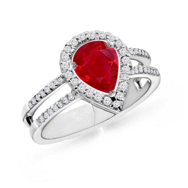 Angara Pear Ruby and Diamond Curved Cross Shank Ring in 14k Yellow Gold 1xw5UpZ2s