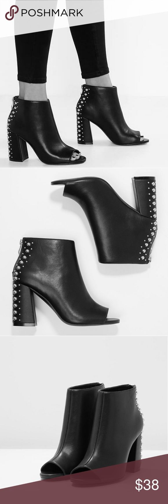 FLASH SALE! Steve Madden Studded Peep Toe Boot High Quality Vegan Leather  Open Toe Block heel Studded back  Zip closure   True to size  NWT in box  Packaged with care Steve Madden Shoes Ankle Boots & Booties