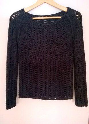 Kup mój przedmiot na #vintedpl http://www.vinted.pl/damska-odziez/swetry-z-dzianiny/16530130-czarna-bluzeczka-sweterek-nicianka-34-36-38-bawelniana-azur