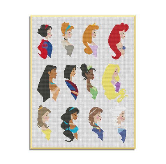 BOGO GRATIS Las princesas de Disney Patrón de por MyCrossStitching