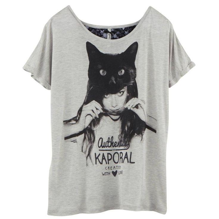 T-shirt manches courtes dentelle print chat femme Kaporal