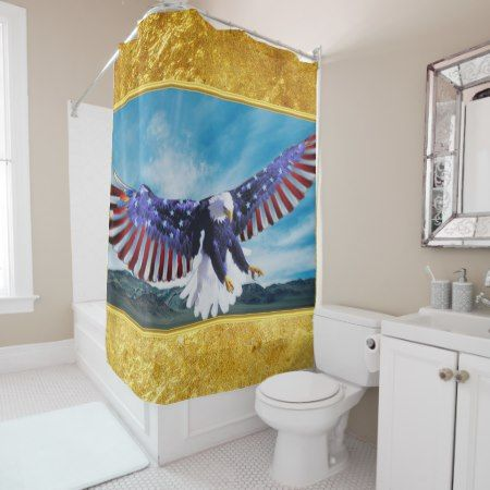 American flag Eagle flying in the sky gold foil tap/click to personalize or buy right now! a custom bathroom shower curtain #baldeagles #patrioticdesigns #Americanflag #4thOfJuly