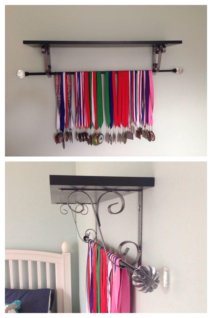 DIY medals display. Display gymnastics medals using a shelf and curtain rod!