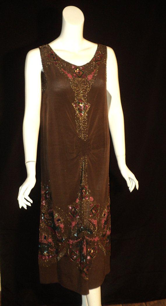 1920s Original Beaded Peackock sequined dress